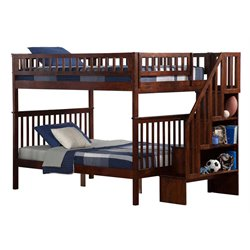 Atlantic Furniture Woodland Staircase Bunk Bed in Walnut