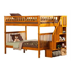 Atlantic Furniture Woodland Staircase Bunk Bed in Caramel Latte