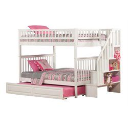 Atlantic Furniture Woodland Staircase Trundle Bunk Bed in White