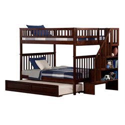 Atlantic Furniture Woodland Staircase Trundle Bunk Bed in Walnut