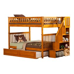 Atlantic Furniture Woodland Staircase Trundle Bunk Bed in Caramel Latte