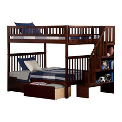 Atlantic Furniture Woodland Urban Staircase Storage Bunk Bed in Walnut