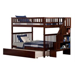 Atlantic Furniture Woodland Urban Staircase Trundle Bunk Bed in Walnut
