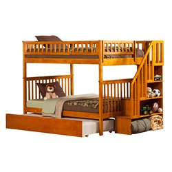 Atlantic Furniture Woodland Urban Staircase Trundle Bunk Bed in Caramel Latte