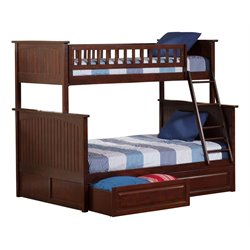 Atlantic Furniture Nantucket Storage Bunk Bed in Walnut