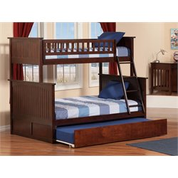 Atlantic Furniture Nantucket Urban Trundle Bunk Bed in Walnut