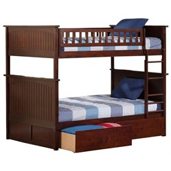 Atlantic Furniture Nantucket Urban Storage Bunk Bed in Walnut