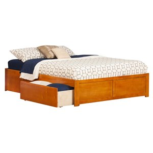 Atlantic Furniture Concord Urban Storage Platform Bed in Caramel Latte