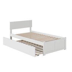 Atlantic Furniture Orlando Urban Trundle Panel Platform Bed in White (A)