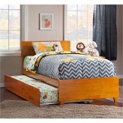 Atlantic Furniture Orlando Urban Trundle Panel Platform Bed in Caramel Latte (B)