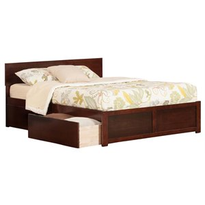 Atlantic Furniture Orlando Urban Storage Panel Platform Bed in Walnut (B)