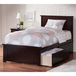 Atlantic Furniture Nantucket Urban Twin XL Storage Panel Platform Bed in Espresso