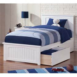 Atlantic Furniture Nantucket Urban Twin XL Storage Panel Platform Bed in White