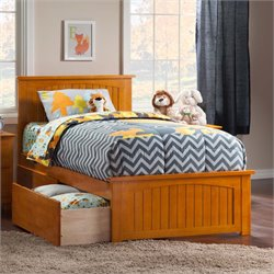Atlantic Furniture Nantucket Urban Twin XL Storage Panel Platform Bed in Caramel Latte
