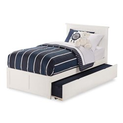Atlantic Furniture Nantucket Urban Trundle Panel Platform Bed in White (A)