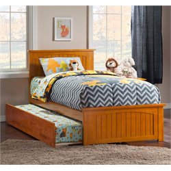 Atlantic Furniture Nantucket Urban Trundle Panel Platform Bed in Caramel Latte (B)