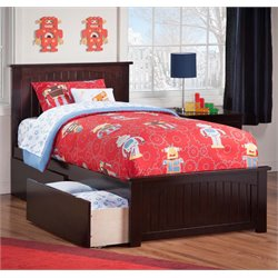 Atlantic Furniture Nantucket Urban Storage Panel Platform Bed in Espresso (B)