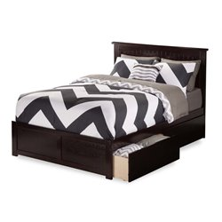 Atlantic Furniture Nantucket Urban Storage Panel Platform Bed in Espresso (A)