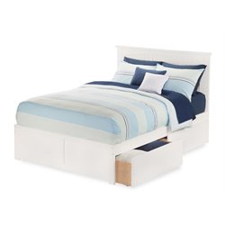 Atlantic Furniture Nantucket Urban Storage Panel Platform Bed in White (A)