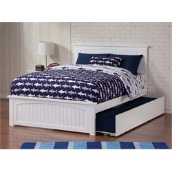 Atlantic Furniture Nantucket Urban Trundle Panel Platform Bed in White (B)