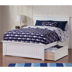 Atlantic Furniture Nantucket Urban Storage Panel Platform Bed in White (B)