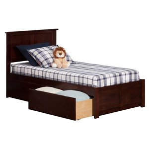 Atlantic Furniture Madison Urban Storage Panel Platform Bed in Walnut (A)