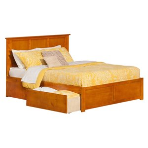 Atlantic Furniture Madison Urban Storage Panel Platform Bed in Caramel Latte (A)