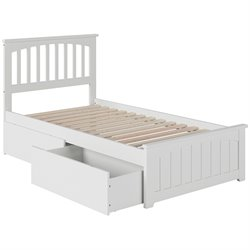 Atlantic Furniture Mission Urban Storage Spindle Platform Bed in White (B)