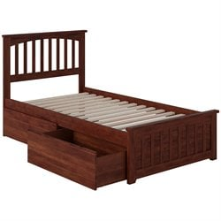 Atlantic Furniture Mission Urban Storage Spindle Platform Bed in Walnut (B)