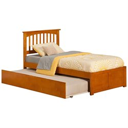 Atlantic Furniture Mission Urban Trundle Spindle Platform Bed in Caramel Latte (A)
