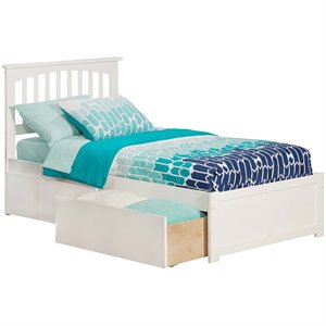 Atlantic Furniture Mission Urban Storage Spindle Platform Bed in White (A)