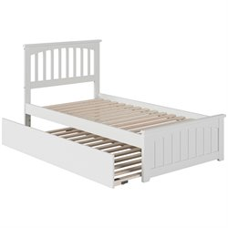 Atlantic Furniture Mission Urban Trundle Spindle Platform Bed in White (B)