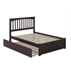 Atlantic Furniture Mission Urban Trundle Spindle Platform Bed in Espresso (A)