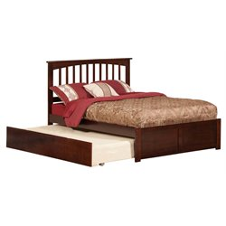 Atlantic Furniture Mission Urban Trundle Spindle Platform Bed in Walnut (A)