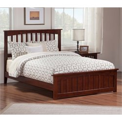 Atlantic Furniture Mission Spindle Platform Bed in Walnut (B)