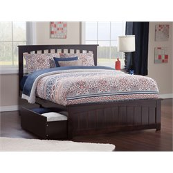 Atlantic Furniture Mission Urban Storage Spindle Platform Bed in Espresso (B)