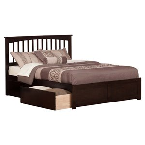 Atlantic Furniture Mission Urban Storage Spindle Platform Bed in Espresso (A)
