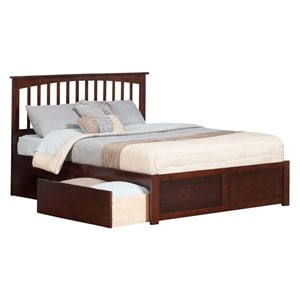 Atlantic Furniture Mission Urban Storage Spindle Platform Bed in Walnut (A)