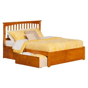 Atlantic Furniture Mission Urban Storage Spindle Platform Bed in Caramel Latte (A)