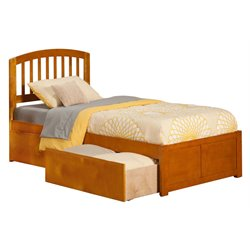 Atlantic Furniture Richmond Urban Storage Spindle Platform Bed in Caramel Latte (A)