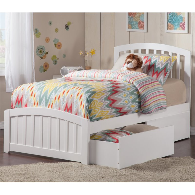 Atlantic Furniture Richmond Platform Bed with Storage in Whi