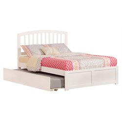 Atlantic Furniture Richmond Urban Trundle Spindle Platform Bed in White (A)