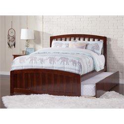 Atlantic Furniture Richmond Urban Trundle Spindle Platform Bed in Walnut (B)