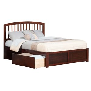 Atlantic Furniture Richmond Urban Trundle Spindle Platform Bed in Walnut (A)