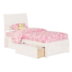 Atlantic Furniture Portland Urban Storage Sleigh Platform Bed in White (A)