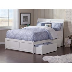 Atlantic Furniture Portland Urban Storage Sleigh Platform Bed in White (B)