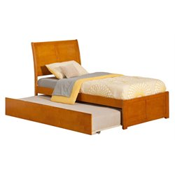 Atlantic Furniture Portland Urban Trundle Sleigh Platform Bed in Caramel Latte (A)