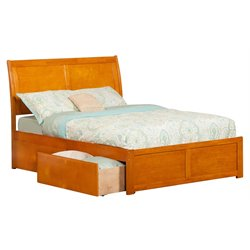 Atlantic Furniture Portland Urban Storage Sleigh Platform Bed in Caramel Latte (A)