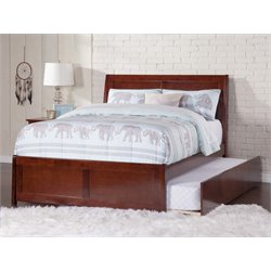 Atlantic Furniture Portland Urban Trundle Sleigh Platform Bed in Walnut (B)