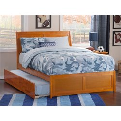 Atlantic Furniture Portland Urban Trundle Sleigh Platform Bed in Caramel Latte (B)